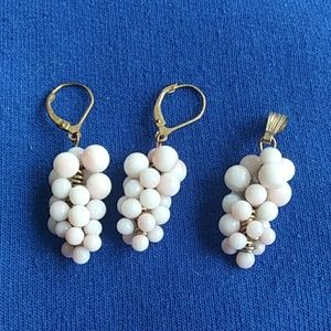 3 pc set Gold filled pearl Grapes Earrings pendant